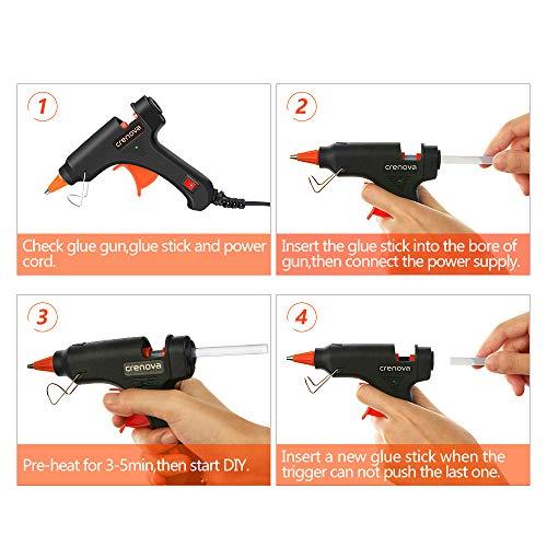 CRENOVA Hot Glue Gun, Glue Gun Kit with 60pcs Glue Sticks, High Temperature Melting Mini Glue Gun for DIY Small Projects, Arts and Crafts, Home Quick Repairs,Artistic Creation(20 Watts) by CRENOVA (Image #7)