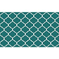 RUGGABLE Moroccan Trellis Teal Washable Indoor/Outdoor Stain Resistant 3x5 (36x60) Accent Rug 2pc Set (Cover Pad)
