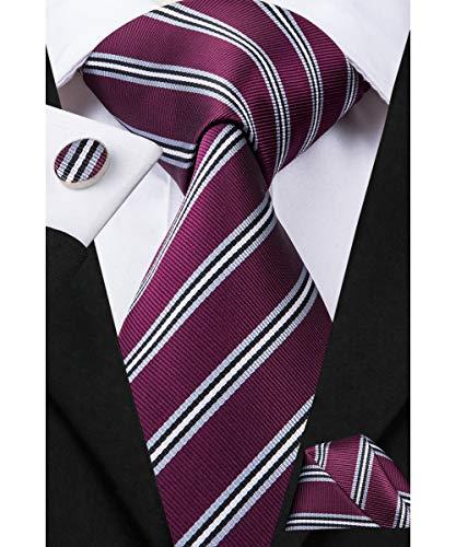 Dubulle Dark Purple Striped Tie for Men with Pocket Square Cufflinks Business Necktie -