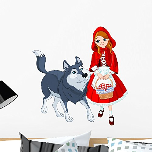Wallmonkeys Little Red Riding Hood and Wolf Wall Decal Peel and Stick Graphic WM66434 (24 in H x 24 in W)