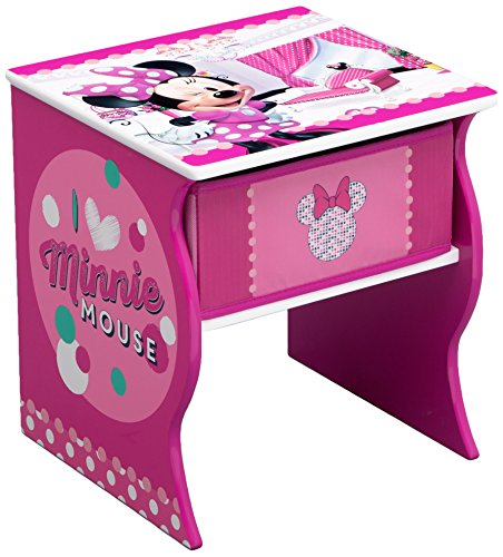 Delta Children Side Table with Storage, Disney Minnie (Minnie Mouse Stand)