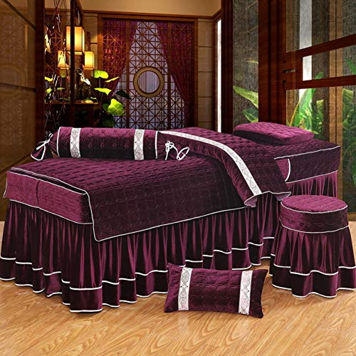 GX&XD Massage Table Sheet Sets,Beauty Bed Cover Quilted Solid Color Bedspreads 4 Piece Beauty Salon Bed Skirt Cotton Quilt Cover Physiotherapy Bed Sheet-red 185x70cm(73x28inch)