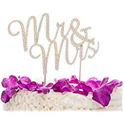 Ella Celebration Mr and Mrs Wedding Cake Topper Gold Rhinestone Monogram Decoration (gold)