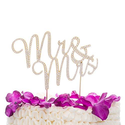 Ella Celebration Mr and Mrs Wedding Cake Topper Gold Rhinestone Monogram Decoration Mr & Mrs (gold) ()