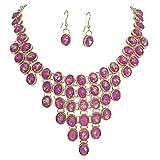 Cluster Statement Bib Boutique Style Necklace & Earrings Set (Purple Iridescent Foil)