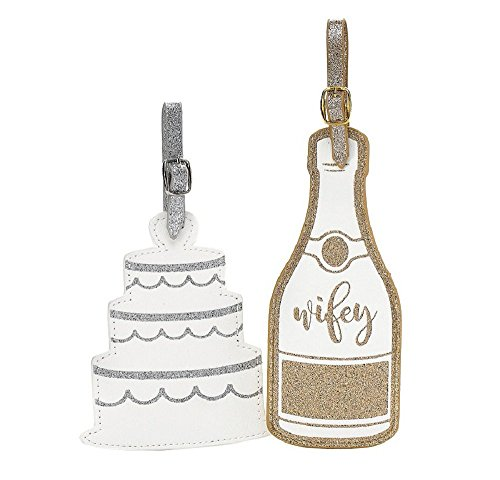 Wedding Cake and Champagne Glitter Large Luggage Tag Set by Jade and Deer