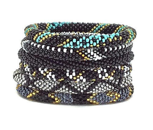 Kissed Karma Original Fairtrade Glass Seed Bead Nepal Bracelet. 6 Pcs Gothic Style Mix.