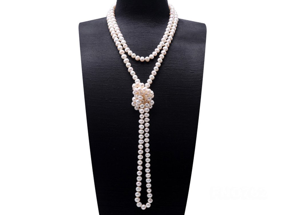 JYX Round Natural White 8-9mm Freshwater Pearl Necklace Endless Long Sweater Necklace 64'' by JYX Pearl (Image #3)