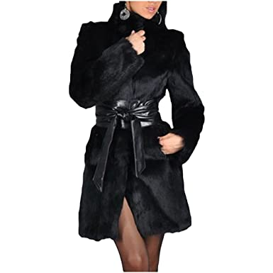 93eae287e62b Image Unavailable. Image not available for. Color: XWDA Women Winter Coat  Long Faux Fur Parka Fashion Warm Black Outerwear ...