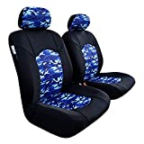 ITAILORMAKER Neoprene Seat Covers for Cars Trucks Jeep Wrangler Toyota Tacoma Tundra Rav4, Waterproof Wetsuit CAMO Blue Black, Universal Easy Fit Airbag Safe