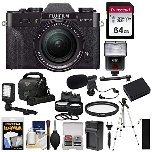 Fujifilm X-T30 Wi-Fi Digital Camera & 18-55mm XF Lens (Black) + 64GB Card + Battery + Charger + Mic + LED Light + Tripod + Flash + Case + 2 Lens Kit