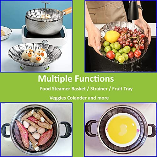 """51rALgOqSdS. AC 11"""" Stainless Steel Steamer Basket, Vegetable Steamer Basket, Food Steamer, Vegetable Steamer, Foldable Steamer Insert for Veggie Meet Cooking, Expandable to Fit Various Size Pot    The steamer basket is made of food grade 430 stainless steel, with no rust."""