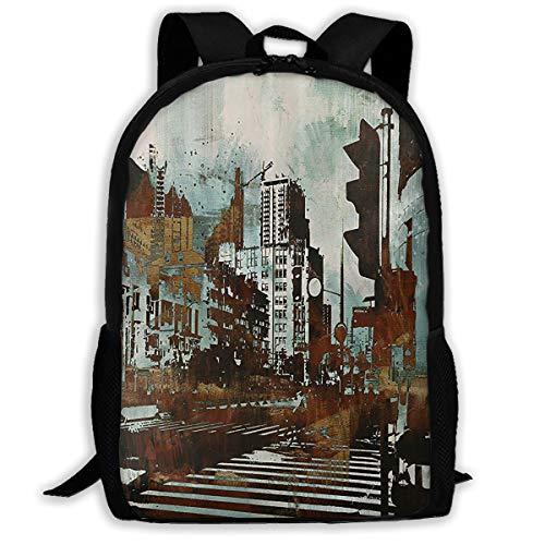 (UYILP Retro Street Adult Premium Travel Backpack, Water-Resistant Big Business College School Bookbag Daypack,Rucksack, Laptop Bag for Men&Women)