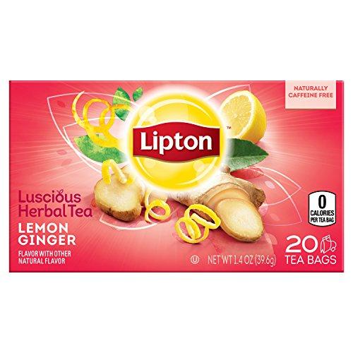 Lipton Herbal Tea Bags, Lemon Ginger 20 count