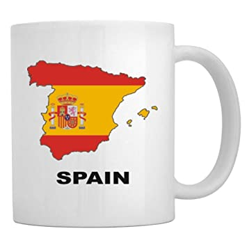 Map Of Spain To Color.Amazon Com Teeburon Spain Country Map Color Mug Kitchen Dining