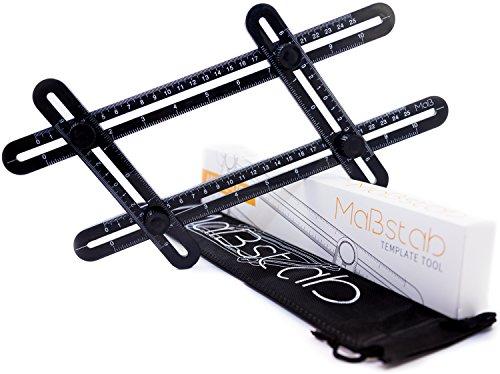 Mastab Template Tool, Multi-Angle Measuring Ruler - Black Plastic | for Builders, Craftsmen, Carpenters, Handymen, Roofers, Tilers and DIY-ers