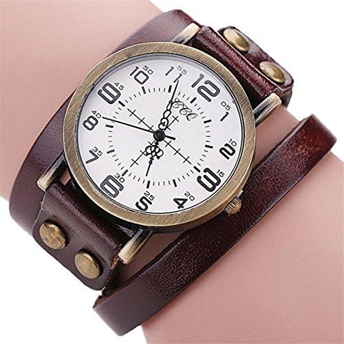 Nmch Watch Hot Sale, Fashion Vintage Cow Leather Bracelet Watch Men Women Wristwatch Quartz Watches (Brown) ()