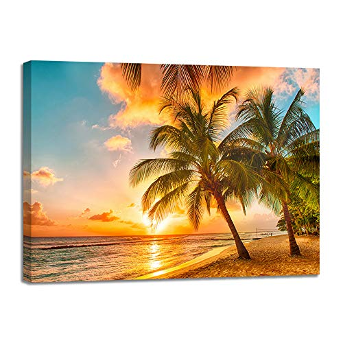 Large Sea Beach Seaview Palm Sunset Canvas Wall Art Blue Ocean Seascape Decor Seashell Decal Picture Painting Print Poster Framed for Home Office Bedroom Dining Room Living Room(32