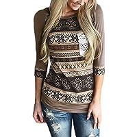 AlvaQ Blusa con manga 3/4, con estampado y rayas, con bolsillos delanteros de crochet, para mujeres.