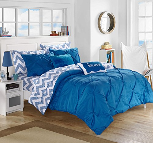 Chic Home 9 Piece Louisville Pinch Pleated and Ruffled Chevron Print Reversible Bed In a Bag Comforter Set Sheets, Full, Blue - Complete Full Sheet Set