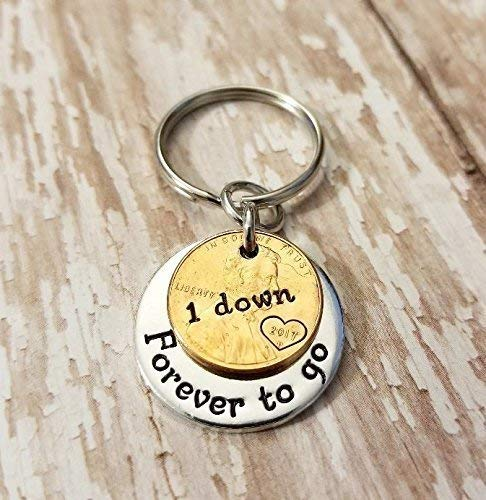 1 Year Down and Forever To Go 1st Anniversary Coin Key Chain Lucky 2017 or 2018 Copper Penny