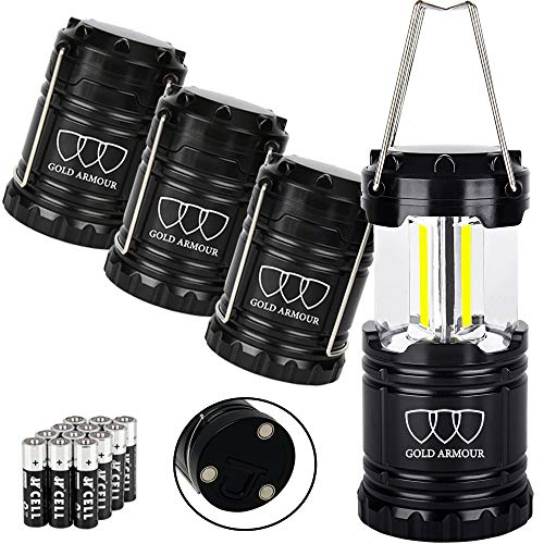 Gold Armour 4 Pack Portable LED Camping Lantern Flashlight with Magnetic Base – EMITS 500 LUMENS – Survival Kit for Emergency, Hurricane, Power Outage 12 AA Batteries Included Black