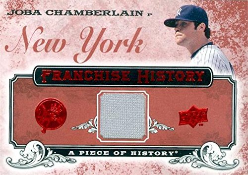Joba Chamberlain player worn jersey patch baseball card (New York Yankees) 2008 Upper Deck History #FH-36