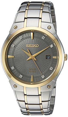 Men's  Japanese Quartz Stainless Steel Watch, Color:Two Tone, Solar - Seiko SNE430