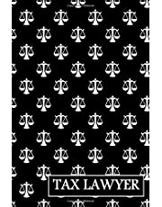 """Tax Lawyer: gift for tax lawyer, scales of justice symbol background, lined journal, blank notebook, 6""""x 9"""", 100 pages for writing notes, decorated interior."""