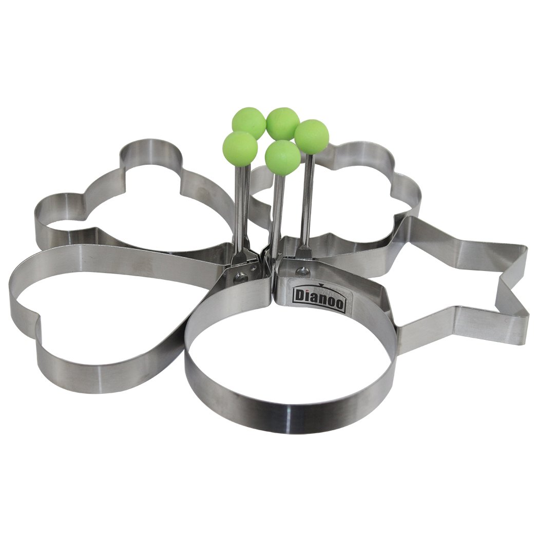 Dianoo High Quality Stainless Steel Pancake Mould Mold Ring Cooking Fried Egg Shaper, 5PCS worth2buy FEMIHGFJGUGD201