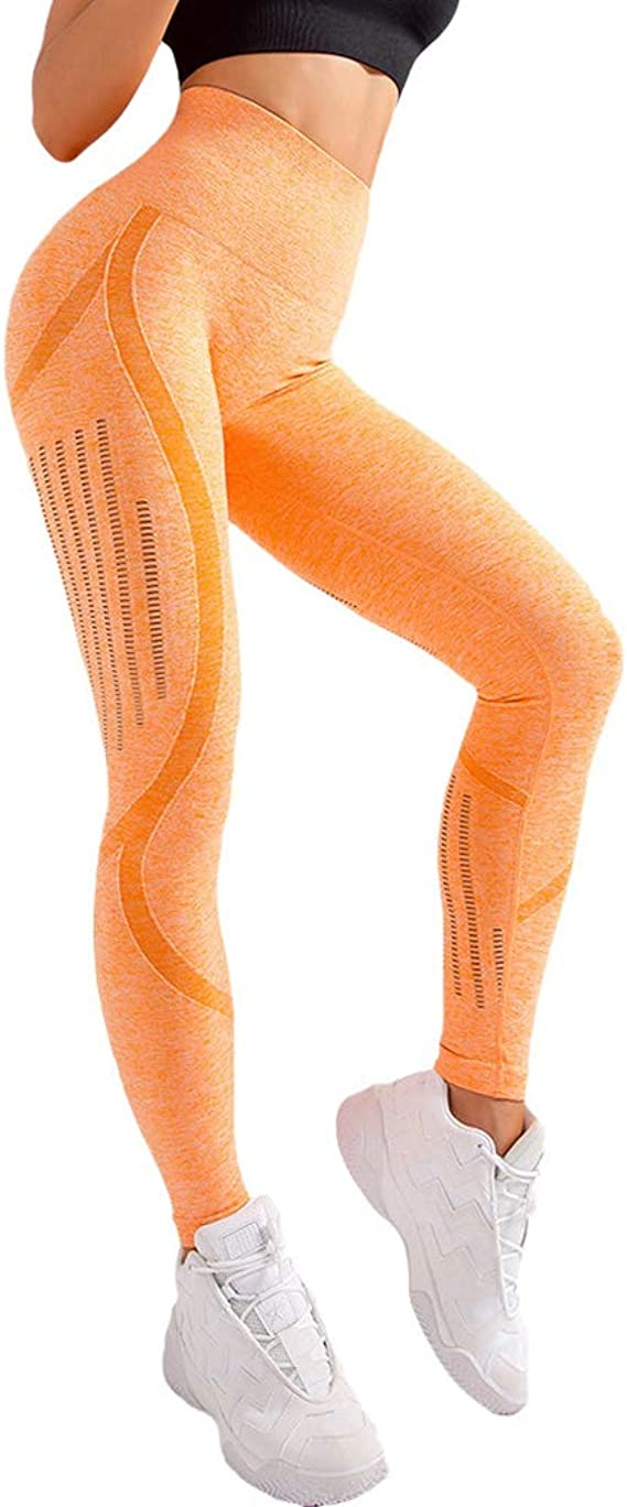 Mxssi Fitness Donna Pantaloni Yoga in Esecuzione Leggings Senza Cuciture Energetici Gym Leggins Vita Alta Push Up Allenamento Sportivo Esecuzione Ginnastica