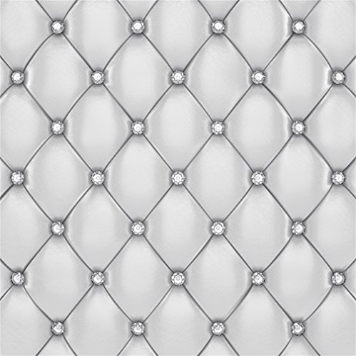 CSFOTO 5x5ft Background for White Leather Upholstery Pattern with Diamonds Photography Backdrop Luxury Furniture Fabric Retro Vintage Backrest Photo Studio Props Wallpaper ()