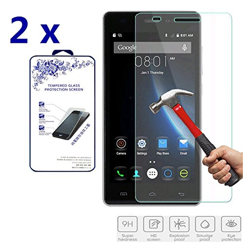 2X for Doogee X5 Premium Ballistic Tempered Glass Screen Protector Hardness,Curved Edge,Anti-Scratch,Bubble Free,Retail Package [2 Pack] 2X (for Doogee X5)