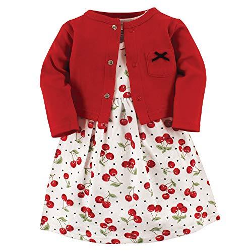 4 Piece Cherry Girl - Hudson Baby Girl Cotton Cardigan and Dress, Cherries 2 Piece Set, 4 Toddler (4T)