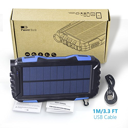 Elzle 25000mAh mobile or portable Solar potential Bank two times USB returns Battery Bank by using effective LED lighting Outdoor Solar Charger phone External Battery Shockproof Dustproof for iPhone SeriesSmart PhoneMore Solar Chargers