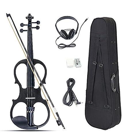 Taihang Tocador de violín eléctrico de tamaño completo 4/4 con auricular y estuche de conexión para principiantes: Amazon.es: Instrumentos musicales