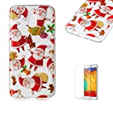 For Samsung Galaxy J3 2018 Case [with Free Screen Protector],Funyee Creative Christmas Series Ultra Thin Transparent Soft TPU Silicone Case Anti Scratch Durable Shell Smart Case For Samsung Galaxy J3 2018,Santa Claus