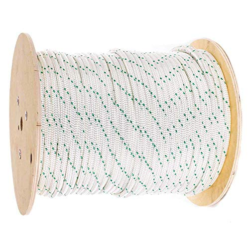 Pulling Rope (3/8 Inch, 300 Feet) - Double Braided Polyester Rope with Eye Loop - White with Green Tracer