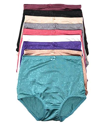 Peachy Panty Women's 6 Pack High Waist Cool Feel Brief Underwear Panties S-5xl (Silky Flower, X-Large)