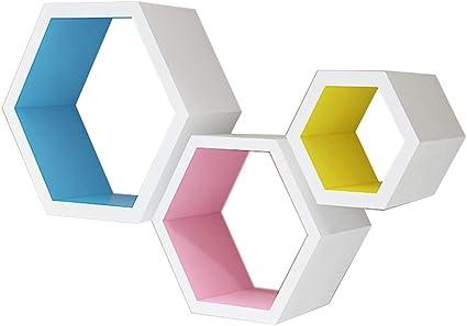 Estantería Mural/Estantería Hexagonal con Soporte de Pared ...
