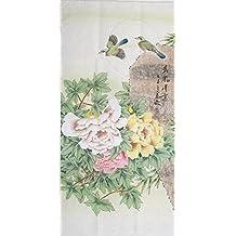 Big size oriental mounted original watercolor painting peony birds y99