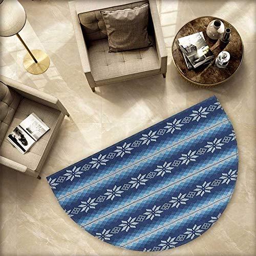 Winter Semicircular Cushion Traditional Scandinavian Needlework Inspired Pattern Jacquard Flakes Knitting Theme Entry Door Mat H 66.9'' xD 100.4'' Blue White by homehot (Image #4)