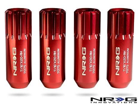 NRG Innovations LN-L473RD Red Extended Lug Nut set, 4 Piece