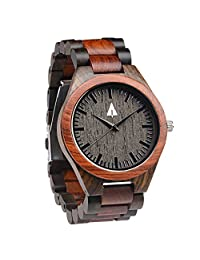 Treehut Men's Rosewood and Ebony Wooden Watch with All Wood Strap Quartz Analog with Quality Miyota Movement and Stainless Steel Tri-Fold Clasp with Push Buttons