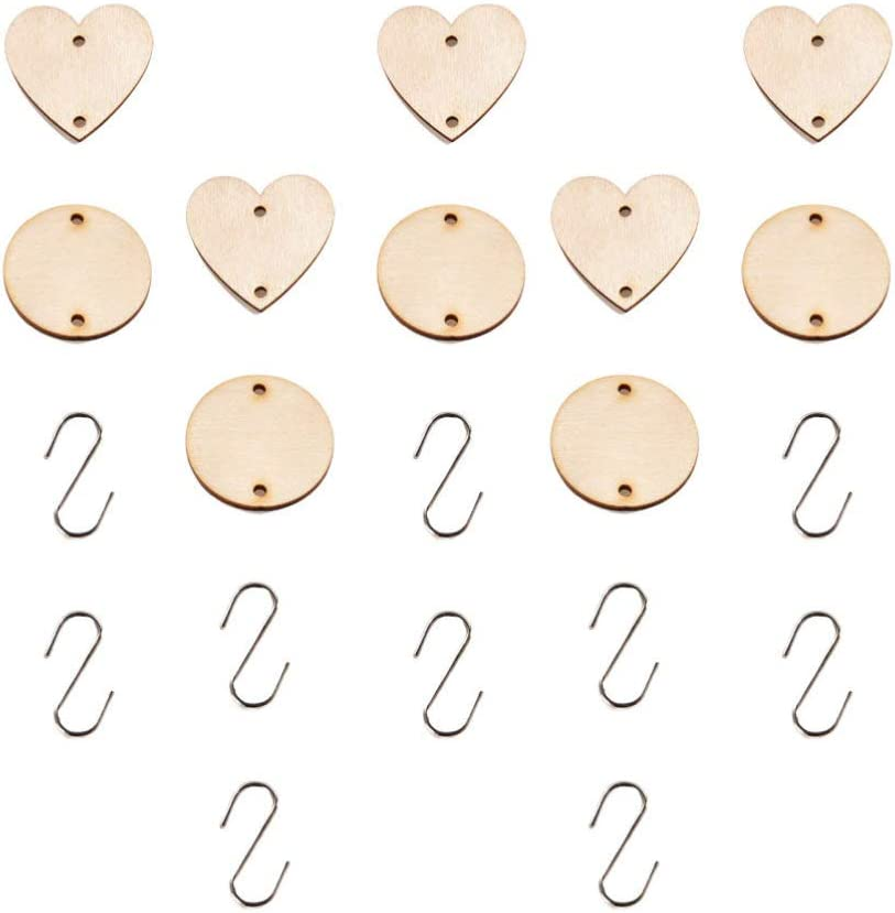 SUPVOX 100 Pcs Wooden Circles Unfinished Wooden Heart Tags with Two Holes 100 Pcs S Hook for Arts Crafts Christmas Birthday Boards Valentine Chore Boards