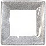 Lillian Tablesettings 24-Piece Square Paper Plates Set, 7-Inch, Silver Texture