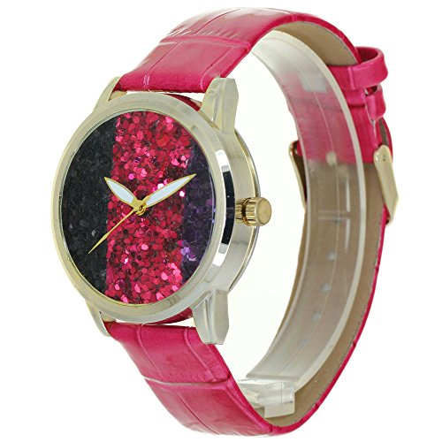 Three Color Sequins No Hour Pointers Dial Design Lady Watches Gold Case Convex Prism Crysal Women Time Piece Japanese Quartz Analog Fashion Stylish Casual Dress Wristwatch Girls Business Gifts