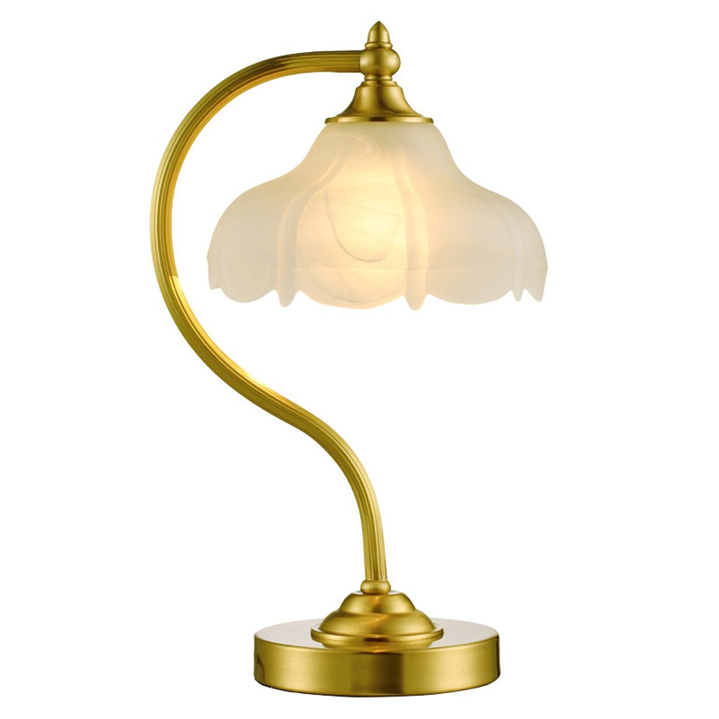 Flashing- Tischlampe, Retro Schreibtisch Lichter Schlafzimmer Nachttisch, Glas Lampenschirm, Netzschalter, Kupfer Basis (Glühbirne Nicht enthalten)