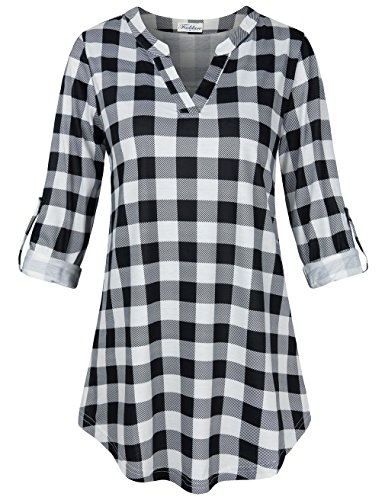 Faddare Checked Blouse Loose, Ladies Jersey Knitted Shirts for Women Prime Womens Flannel Shirt,Black White M