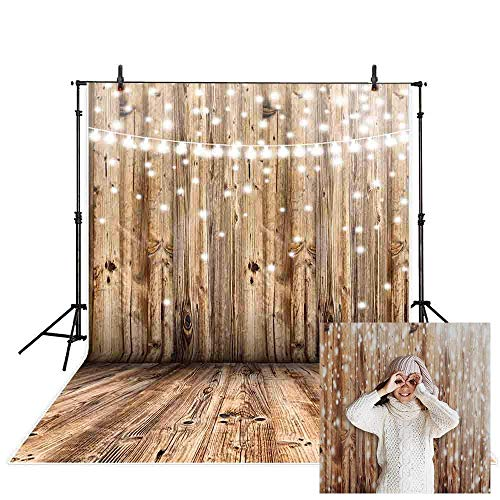 Allenjoy 5x7ft Vinly Wood Floor Backdrop Shine Bokeh Light Photography Background Woodland Banner Party Decoration Photo Studio Props
